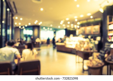 Abstract blur and defocused restaurant and coffee interior for background - Vintage Filter
