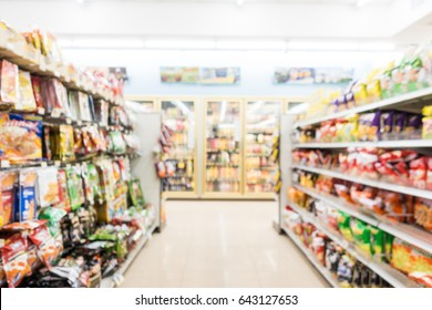 Abstract blur and defocused supermarket and convenience store interior for background