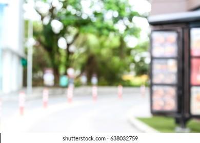 abstract blur drive thru fast food restaurant