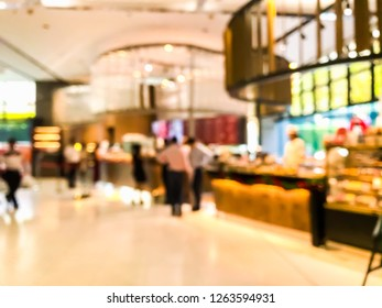 Abstract blur focus  people wait them oder front of coffee and bread shop