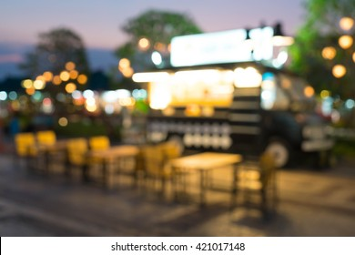 abstract blur food truck for background