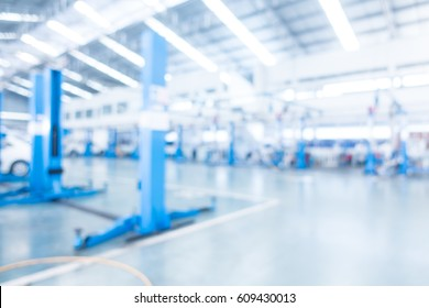 Abstract blur garage and automoblie interior for background - Processing Blue white balance