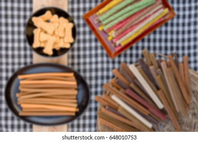 Abstract blur a group of Dog Treats (Dog Food, Dog Chews, Snack), Top View