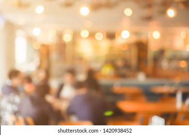 abstract blur group of people sitting and meeting about daily lifestyle in the cafe bar background concept