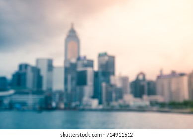 Abstract blur Hong Kong seaside cityscape defocused background