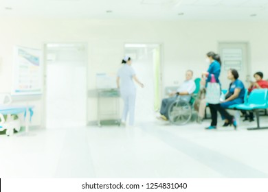 Abstract blur hospital for background. Blurred patient waiting for see doctor.
