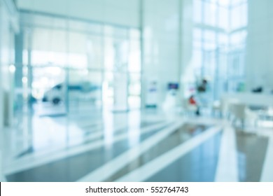 Abstract blur hospital and clinic interior for background - Processing Blue color white balance