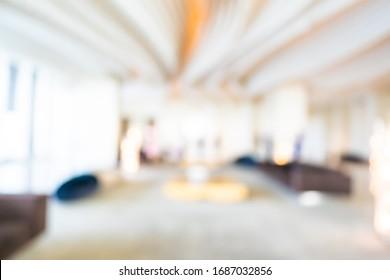 Abstrakte unscharfe Hotel- und Lobby-Inneneinrichtung auf Hintergrund