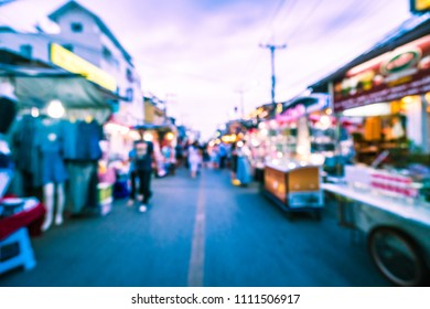Abstract blur hua hin night market street for background