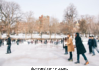Abstract blur ice-skating people in park for background