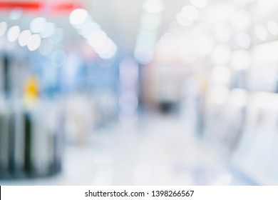 abstract blur image background of mall and display prodduct shelf