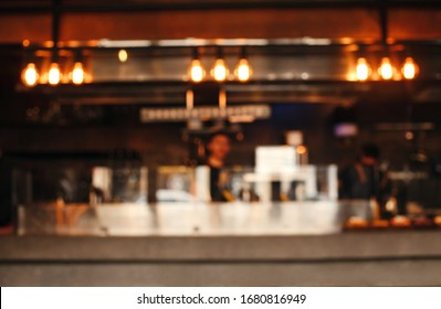 Abstract blur image of cafe or restaurant with bokeh for background