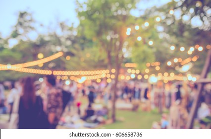 abstract blur image of  day festival  in garden with bokeh for background usage . (vintage tone) - Shutterstock ID 606658736