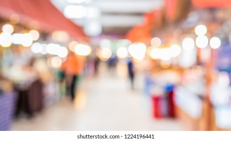 Abstract blur image of  Indoor Day Market with bokeh for background usage .