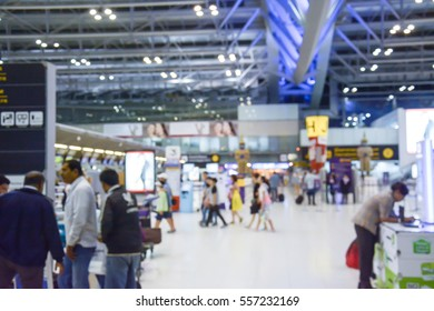 Abstract blur image of people walk in the airport