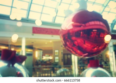 abstract blur image of shopping mall and people on christmas time.