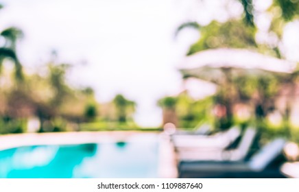 Abstract blur image of Swimming pool on day time with bokeh for background usage . (vintage tone)