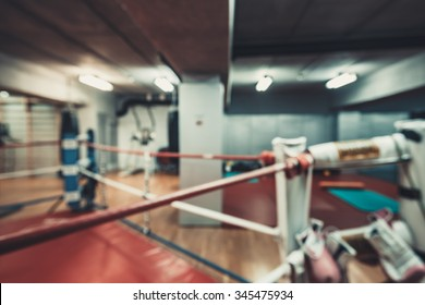 abstract blur interior Empty hall for boxing in the gym