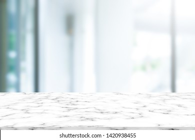 abstract blur interior luxury modern bathroom background with white marble counter tabletop for shpw,promote,ads product design on display