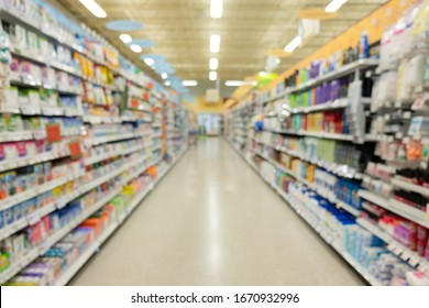 Abstract blur interior of supermarket or shopping mall. Shopping concept background