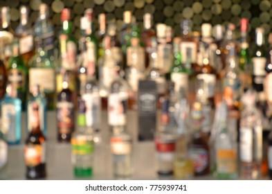 Abstract blur liqour bottle on shelf