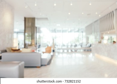 Abstract blur living area in hotel lobby interior for background