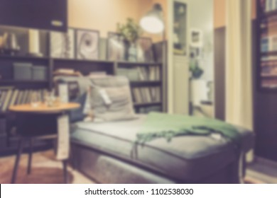 Abstract blur living room interior for background usage. Vintage effect