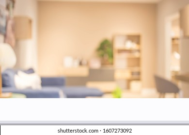 Abstract blur living room interior for background.