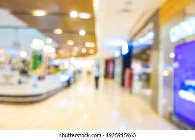 Abstract blur luxury shopping mall and retails in department store interior for background