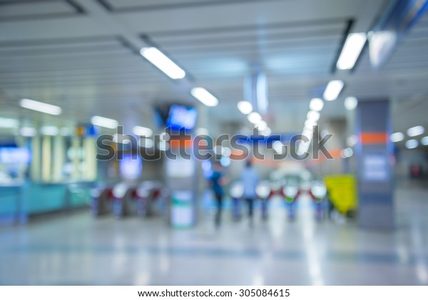 Abstract blur modern entry exit subway station background