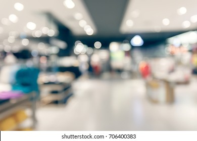 abstract blur modern shopping mall, retail front store display interior background