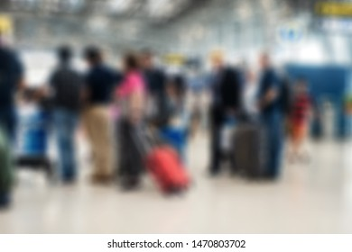 Abstract blur passengers in airport background