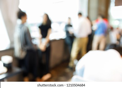 Abstract blur people during coffee break time in seminar meeting or party event