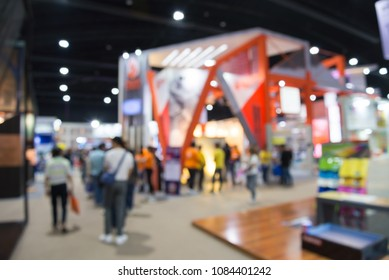 Abstract blur people in exhibition hall event trade show expo background