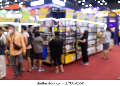 Abstract blur people in exhibition hall event trade show expo background. Business convention show, job fair, or stock market. Organization or company event, commercial trading.