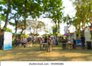 abstract blur people in park event for background