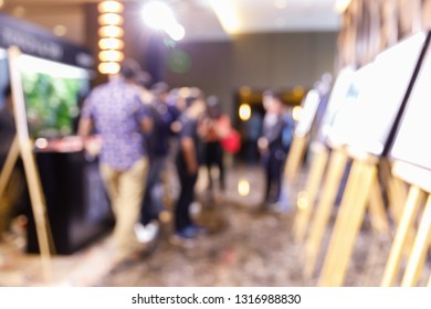 Abstract blur people in photo or art gallery