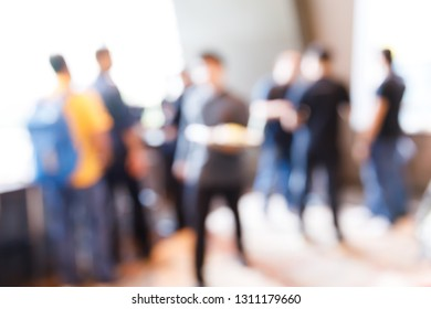 Abstract blur people in press conference event or corporate exhibition seminar meeting party