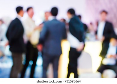 Abstract blur people in press conference event, business concept, professional corporate party