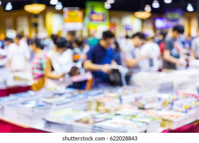 Abstract blur people shopping in book exhibition fair, knowledge and education concept