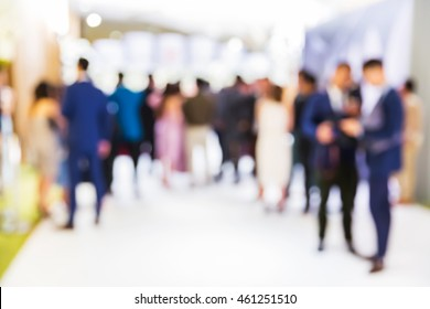 Abstract blur people stand in press conference event or celebration party, business concept