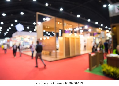 Abstract blur people in tradeshow expo background