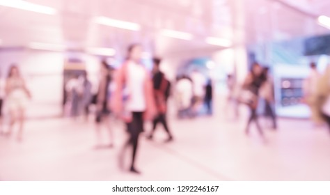 Abstract blur people walking in shopping mall (Background)