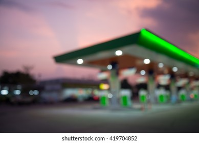 Abstract blur petrol gas station in evening twilight background