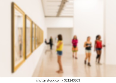 Abstract Blur Photo Of Art Gallery Interior