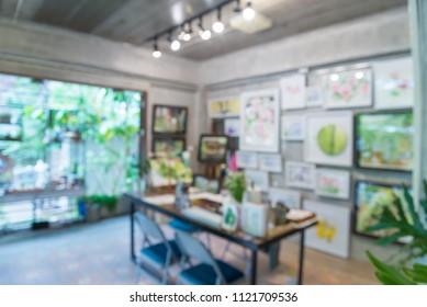 Abstract blur practice room in art school background