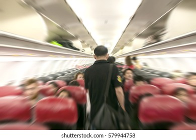 abstract blur rediant zoom in passenger room on aeroplane