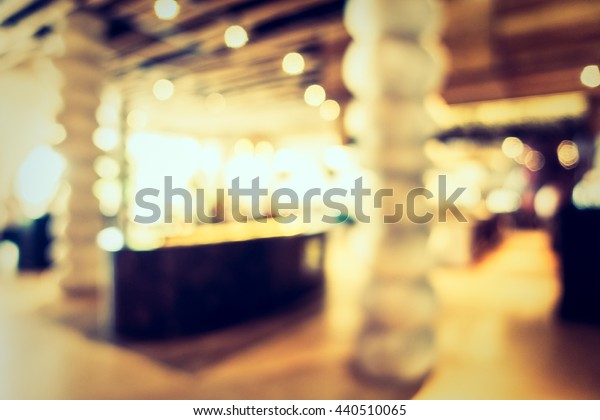 Abstract blur restaurant interior for background - Vintage Filter