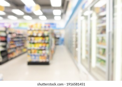 abstract blur shelf in minimart and supermarket for background