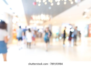 Abstract blur shopping mall interior and retail store in department store for background. and Blurred peoples background in the department store.